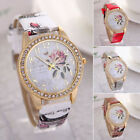 Fashion Rose Flower Women Girl Diamond Leather Bracelet Quartz Wrist Watch New