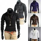 Men Heap Collar T-Shirt Long Sleeve Slim Fit Blouse Basic Pullover Casual