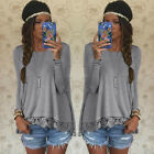 Fashion Womens Long Sleeve T-Shirt Lace Knitted Sweater Casual Blouse Tops New