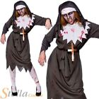 Ladies Zombie Nun Costume Satanic Sister Halloween Fancy Dress Womens Outfit