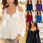 New Womens Long Sleeve Off Shoulder Lace Up Neck T-Shirt Casual Slim Tops Blouse