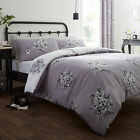 Catherine Lansfield Floral Bouquet Grey Reversible Duvet Quilt Cover Bedding Set