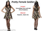 Ladies Army Soldier Girl Woman Costume Outfit Fancy Dress Camo Military Forces