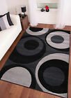 MODERN EXTRA LARGE SWIRLS GREY BLACK RUG AREA FLOOR MAT TORONTO 120x170 160x230