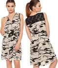 Womens Camouflage Lace Back Dress Ladies Zip Belted Sleeveless Army Mini 8-14