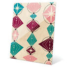 'Retro Teal And Pink Bead String' Glass Wall Graphic
