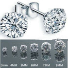 Women Men Fashion Silver Plated Cubic Zirconia Round Stud Earrings Jewelry 3-8mm image