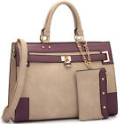 New Dasein Womens Handbags Leather Satchels Tote Bag Shoulder Bags Padlock Purse