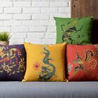 Modern Dragon Phoenix Pillow Case Cushion Cover Square Linen Wedding Gift Linen