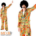 Psychedelic Peace Suit Mens Fancy Dress 60s 70s Hippy Hippie Adults Costume New