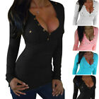 Womens Sexy Long Sleeve Shirt Slim Casual Blouse Loose Cotton Girls Tops T Shirt
