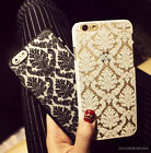For iPhone 5 6 Plus Retro Flower Pattern Matte Hollow Back Case Cover Protective