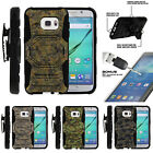 For Samsung Galaxy S7 G930 Clip Stand Case + Tempered Glass - Abstract Camo