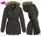 NEW Womens Padded Parka Coat Ladies Fur Hooded Jacket Sizes 8 10 12 14 16 Black