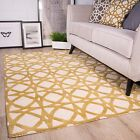 Mustard Yellow Ochre Trellis Fish Net Pattern Living Room 100% Wool Woollen Rug