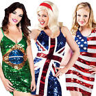 National Flag Fancy Dress Ladies Carnival Festival Womens Adults Costume Outfit