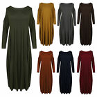 Womens Ladies Plain Long Sleeves Loose Plus Size Bodycon Onesize Midi Dress UK