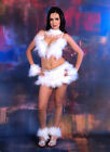 White 7 pc Bra Top Belt Feather Fur Rhinestone Costume Burlesque Showgirl Angel