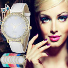 Women Rhinestone Bracelet Watch Faux Leather Analog Quartz Wrist Watches New