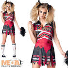 Zombie Cheerleader Ladies Halloween Fancy Dress Womens Adults Horror Costume New