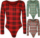 New Womens Checked Tartan Ladies Long Sleeve Stretch Bodysuit Leotard Top 8-14