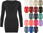 Womens Stretch Bodycon V Neck Fluffy Long Sleeve Top Sweater Ladies Jumper 8-14