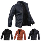 Fashion Mens PU Leather Bike Motocycle Jacket Stand Collar Slim Fit Coat Outwear