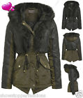 NEW Womens Padded Parka Coat Ladies Fur Hooded PU Jacket Sizes 8 10 12 14 16