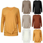 Womens Ladies Long Sleeves Italian Asymettrical Plain Top Jumper Onesize Knitted