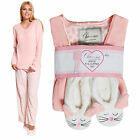 WOMENS NOVELTY PYJAMAS AND SLIPPERS LADIES SUPERSOFT FLEECE TOP & BOTTOMS SET