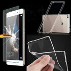 Tempered Glass + Ultra Thin Clear TPU Soft back Case Cover Skin For Huawei P8/P9
