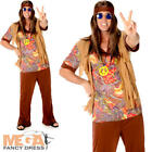 Groovy Hippie Man Fancy Dress 1960s 70s Sixties Adults Hippy Costume Outfit New