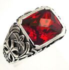 RED SAPPHIRE GOTHIC CROSS STERLING 925 SILVER RING