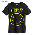 Official Amplified Unisex Grey Vintage T Shirt NIRVANA Smiley Logo All Sizes