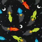 SPACED OUT ROCKET SHIPS ROBERT KAUFMAN QUILT SEWING CRAFT FABRIC Free Oz Post