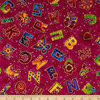 LAUREL LAND ALPHABET A-Z CRIMSON GILDED QUILT SEWING CRAFT FABRIC Free Oz Post