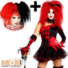 Jesterina + Wig Ladies Medieval Halloween Jester Womens Fancy Dress Costume New
