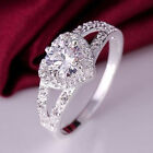 Crystal Womens 925 Sterling Silver Rhinestone Heart Finger Ring  Jewelry Decor