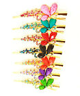 ICON PINK BLUE ORANGE GREEN PURPLE RED BLACK CRYSTAL ACRYLIC GOLD HAIR CLIP NEW