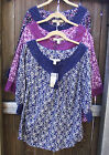 NINE WEST VINTAGE AMERICA CASUAL COTTON PEASANT FLORAL MULTI ¾ SLEEVE BLOUSE S M