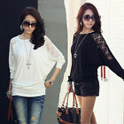 Women Fashion Lace Hollow Out  Long Sleeve Round Collar Style Batwing T-Shirt EW