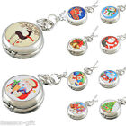 HOT NEW Women Men Enamel Christmas Santa Claus Pocket Watch Chain Quartz Watch