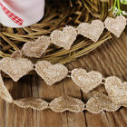 1/2.5/5 Yards Embroidered Heart Gold Edge Lace Trim Sewing Applique Craft DIY