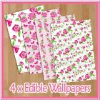 WPS05 pink roses shabby floral themed 4 x A4 sheets edible wallpaper