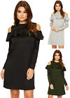 Womens Tiered Frill Dress Ladies Cut Out Cold Shoulder Long Sleeve Stretch 8-14