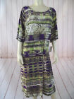 Mlle Gabrielle Dress 1X 3X Purple Green Brown Abstract Poly Spandex Pullover New