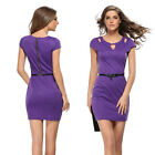 New Women's Short Sleeve Bodycon Slim Evening Party Cocktail Pencil Office Dress