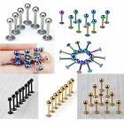 10pcs 16G Ball Labret Lip Chin Ring Bar Studs Stainless Steel Body Piercing Punk
