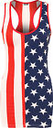 Womens American Racer Back Long Vest Top Ladies Sleeveless Flag Print Usa 8-14