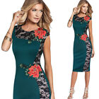 Womens Elegant Vintage Lace Party Cocktail Bodycon Sheath Embroidery Dress 4289